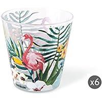 Excelsa Tropical Set Bicchieri Acqua, Multicolore, 8.5 x 8.5 x 9 cm, 6 Unità