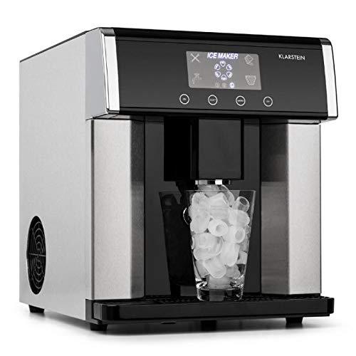 Klarstein Eiszeit Silver Edition - Máquina de cubitos de hielo, 3 tamaños, 10-15 kg/24h, Display LCD...