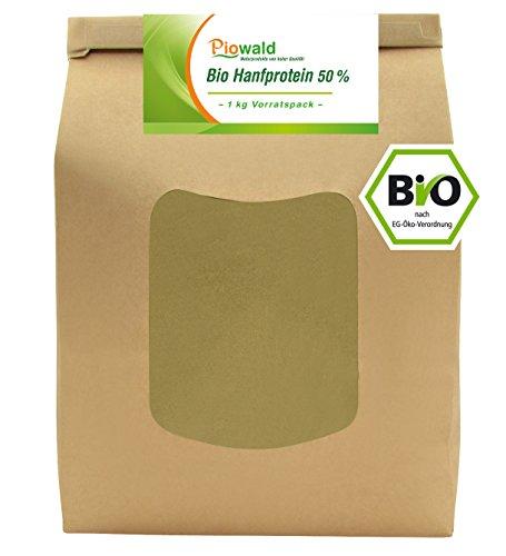 BIO Hanfprotein - 1 kg Vorratspack | Pflanzliches Eiweißpulver von Piowald | Vegan und Glutenfrei | Protein Pulver, Eiweisspulver aus Hanfsamen für deinen Protein Shake