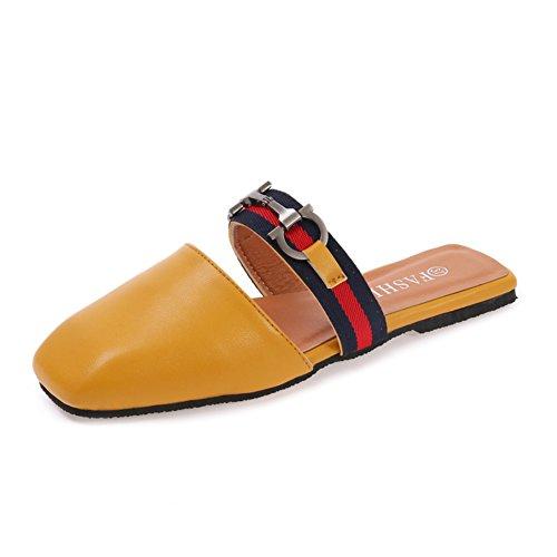 Sommer,flach,quadratischen kopf,frauen sandalen/freizeit-komfort,halbe hausschuhe-B Fußlänge=23.8CM(9.4Inch) (Ted Baker-flache Sandalen)