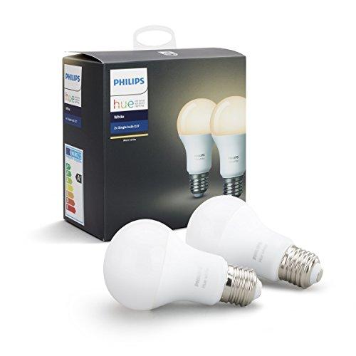 Philips Hue Pack de 2 ampoules connectées White E27 - Fonctionne avec Alexa