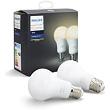Philips Hue White - Pack de 2 bombillas LED E27, 9.5 W, iluminación conectada, luz blanca cálida regulable, compatible con Apple Homekit y Google Home