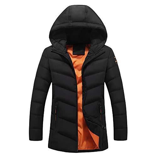 Schwarz Fischgräten-anzug (Setsail Herren Mode Herrentel Beiläufige Warme Kapuze Winter Reißverschluss Herrentel Outwear Jacke Top Bluse)