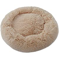 Ohyoulive Pet Dog Cat Calming Bed Round Nest Warm Soft Plush Comfortable for Sleeping Winter