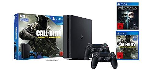 PlayStation 4 - Konsole (1TB, schwarz, slim) inkl. Call of Duty: Infinite Warfare + 2 DualShock 4 Contoller + Dishonored 2: Das Vermächtnis der Maske - Limited Edition (inkl. Definitive Edition) (Dishonored Special Edition)