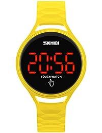 Deportes Mujer Calendario Pantalla Táctil Pantalla LED Pulsera de PU Portátiles Reloj de Pulsera Amarillo