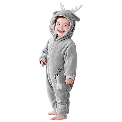 Ensemble Bébé Garçon Hiver Bébé Nouveau-né Barboteuse Polaire avec Doublure en Polaire Pyjama Combinaison Animaux Vêtements Noël Bébé Tenues Garçons Filles Unisexe Manches Longues pour 0-24 Mois