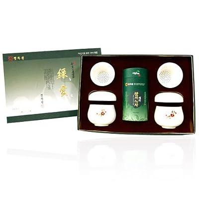 Fabriqué en Corée Haute qualité biologique Mountain feuilles de thé vert thé infuseur Passoire-Céramique-Mug en porcelaine-Coffret cadeau