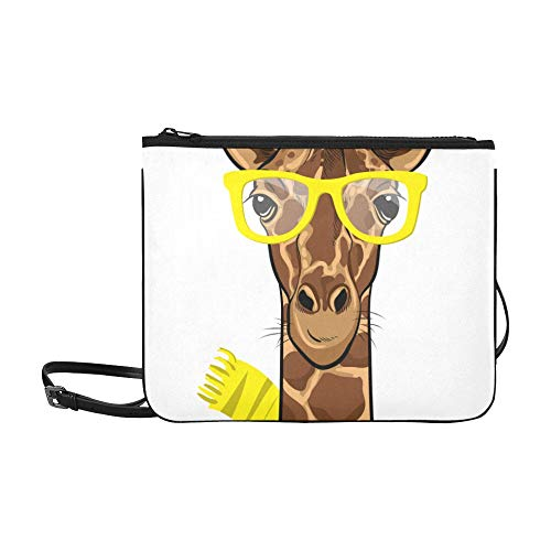 WYYWCY Karikatur-nette Giraffen-Muster-Gewohnheits-hochwertige Nylon-dünne Handtasche-Kreuz-Beutel-Schulter-Beutel
