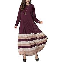 iBaste Vestidos Largos Mujeres del Estilo Musulmán Vestido de Rogación Maxi Dress de Rayas del Arco
