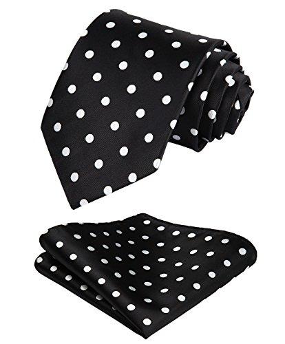 HISDERN Dot Floral Wedding Tie Panuelo para hombres Corbata y bolsillo cuadrado blanco negro