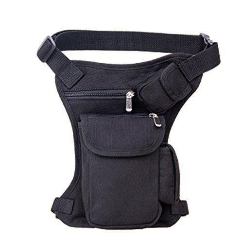 iTECHOR Abnehmbare Mehrzweck taktische Tropfen-Bein-Taillen-Beutel-Reit Tasche für Motorrad-Außen-Fahrrad-Schenkel-Satz-Taillen-Gürteltasche - Schwarz