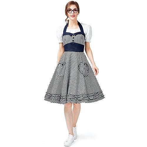 NGHJF Sexy Oktoberfest Bier mädchen kostüm Erwachsene Frauen Maid Cosplay bayerischen Karneval Party Dress Bluse schürze@mit weißem Hemd_XL (Für Erwachsene Bier Mädchen Kostüm)