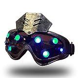 WLXW Kombination Aus Taktischer Maske Und Brille, LED-Punk-Steam-Gothic-Retro-Karneval-Herrenbrille, Sci-Fi-Rollenspiel-Requisiten, Mechanische CS-Leuchtbrille,Silber,Greenlight -