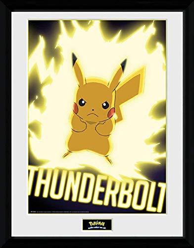 Pokemon Thunder Bolt Pikachu - Halterung & Gerahmter Druck - 44 X 34 cm ( Ca. 18 X 14 Inches)