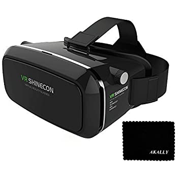 b2bbc0fa266 Akally 3D VR Headset Glasses Cardboard Virtual Reality Mobile Phone 3D  Movies Games with Resin Lens