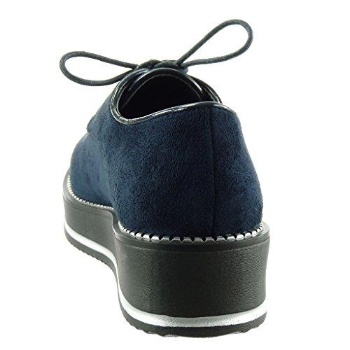 Angkorly Damen Schuhe Derby-Schuh - Plateauschuhe - Reißverschluss Keilabsatz 4.5 cm Blau