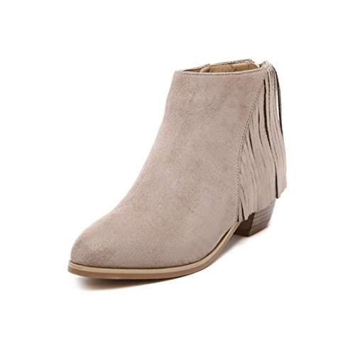 YMXJB Talons femmesEurope, Mesdames mode Astuce gland bottes courtes apricot