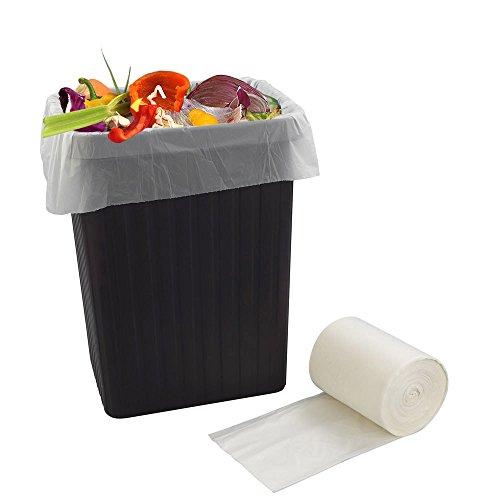 Bblie 40 L 100% biologisch abbaubar Kompostierbar Müllsäcke Müllbeutel, weiß, 90 Taschen -