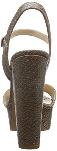 Neuf Carnation Ouest Pompe de plate-forme en cuir Grey Python Texture Leather