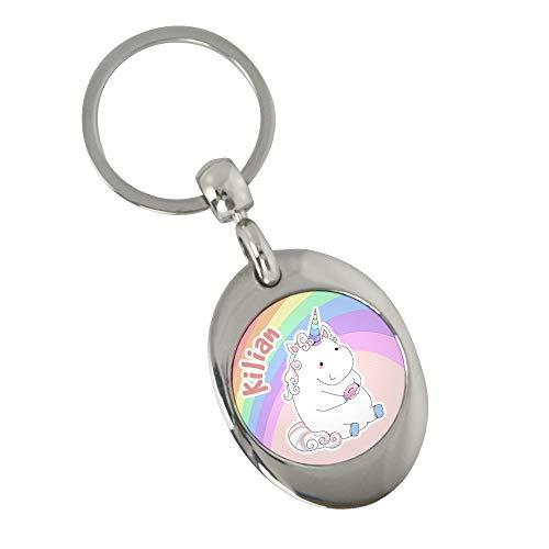 Schlüsselanhänger mit Namen Kilian und Einhorn-Motiv in Pastell-Farben   Namens-Anhänger mit Einkaufs-Chip für Kinder und Erwachsene
