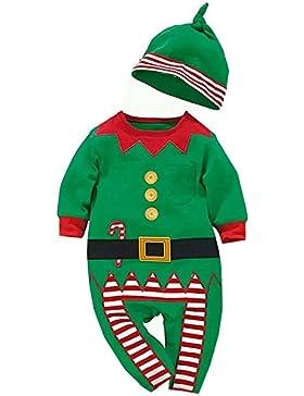 YCHENG Baby Jungen Mädchen Overalls Strampler Weihnachten Kostüm Bekleidungssets mit Hat