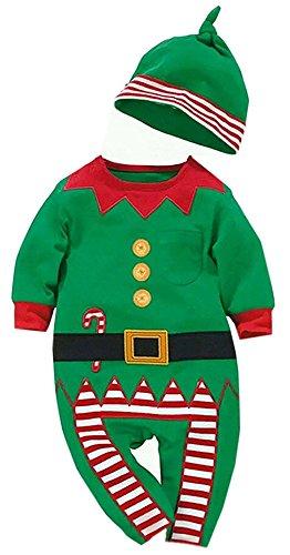 YCHENG Baby Jungen Mädchen Overalls Strampler Weihnachten Kostüm Bekleidungssets mit Hat Grün 90(7-12 Monaten)