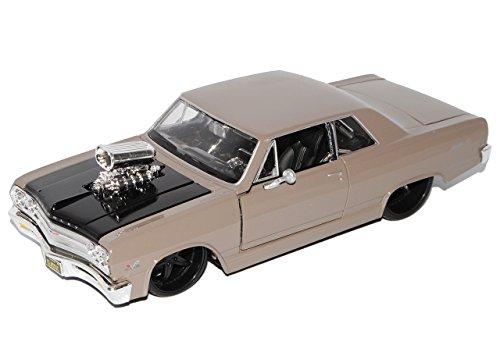 chevrolet-chevy-malibu-ss-grau-tuning-1965-1-24-maisto-modell-auto-mit-individiuellem-wunschkennzeic