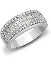 Forever Mine 9ct White Gold CZ Hinged Square Tube Eternity Bangle Bracelet