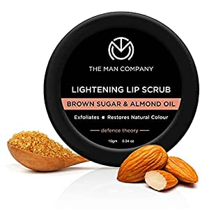 The Man Company Lightening Lip Scrub with Brown Sugar & Almond Oil | For Dry / Chapped Lip | Nourishes | Moisturizes | Brightening - 10gm