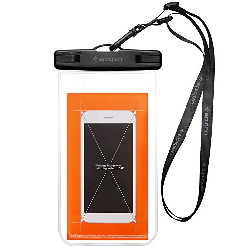 Waterproof Phone Case, Spigen Velo [IPX8 Certified] [Premium Universal Underwater Dry Bag] Waterproof Phone Pouch With Neck Strap Transparent / Touch Responsive / Watertight Sealed / IPX8 Certified for Apple iPhone 7/7 Plus/6/6S/ 6 Plus/5S/5/SE, Samsung Galaxy S7/S7 Edge/S6/S6 Edge/ Note 5, Google Pixel / Pixel XL, Huawei, OnePlus, Sony, HTC and most smart devices, Waterproof Pouch Waterproof Phone Bag - A600 Crystal Clear (000EM20923)