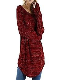 ¡Gran promoción!★Rovinci★ Mujeres Casual Cómodo Tallas Grandes Color sólido Cuello Redondo Blusa de Manga Larga Jerseys Tops Camisa Blusa