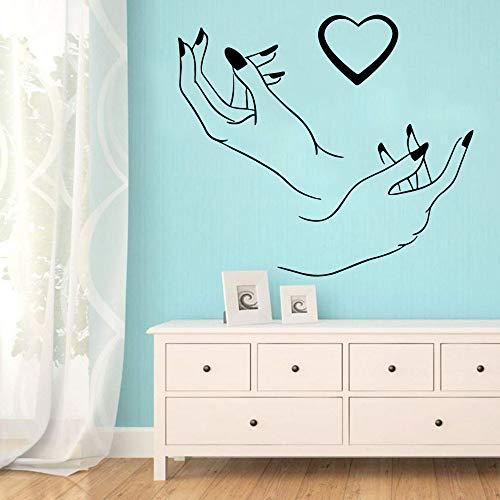 BFMBCH Adesivo murale cuore salone di unghie carino Adesivo autoadesivo Decorazione per soggiorno Camera da letto staccabile Vinile Adesivo murale Viola L 43 cm X 50 cm