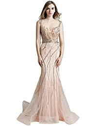 Sarahbridal Long Evening Prom Dresses Elegant Party Ball Gowns Chiffon Wedding Guest Dress with Beading Applique