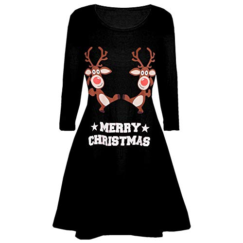 Moonuy Frauen Knie-Länge Kleid Damen Weihnachtsfeier Kleid gedruckt Langarm Brief Print Abend Prom Kostüm O-Neck Swing Kleid (Downton Abbey Abend Kostüm)