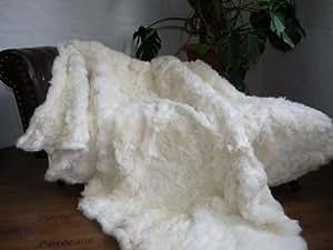 Bio couvre-lit effet fourrure véritable blanc 200 x 160 cm pD - 122