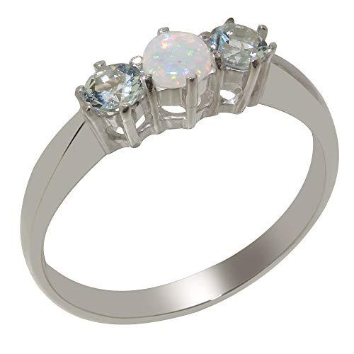 Luxus Damen Ring Solide Sterling Silber 925 mit Opal und Aquamarin - Verfügbare Größen : 47 bis 68 (Antik Aquamarin Ringe)