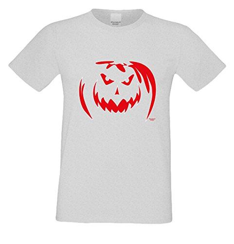 Herren-Halloween-Kostüm-Motiv-Fun-T-Shirt auch in Übergrößen 3XL 4XL 5XL Kürbis cooles Funny Shirt böser Kürbis Party Outfit Farbe: grau Grau