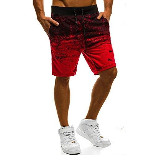 Sport Shorts Herren Sommer Strand Sea Surfen Kurze Hose Boxing Badeshorts Bermuda Running Fitness Gym Jogging Lightweight Training Shorts Baumwolle Qmber unordentliche Blumen Verlaufshose(Red,M)