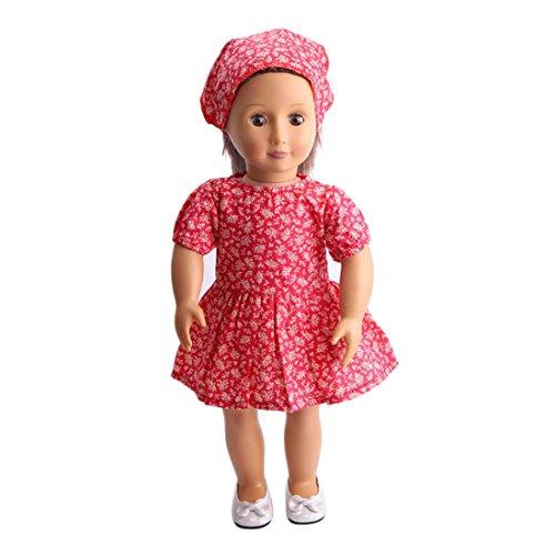 Schal Girl Doll American (Puppenkleider Kleid für 45,7cm American Girl Puppe Unsere Generation mingfa rot Pretty Sommer Kleid und Schal Set Puppe Zubehör)