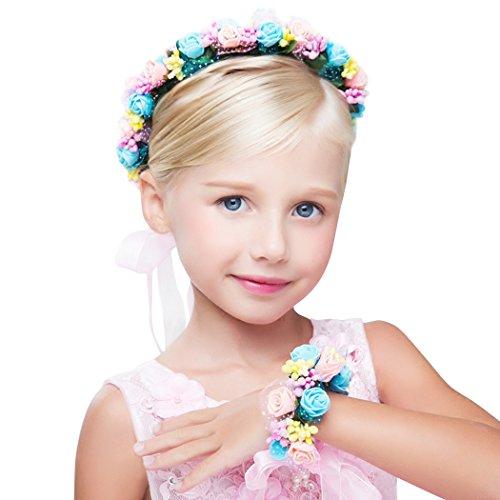 nd Stirnband Blume Handgelenk Hochzeit Braut Braut Brautjungfer Mädchen Headwear einstellbar ()