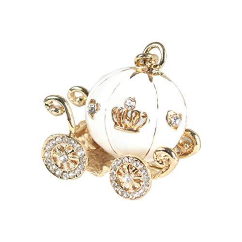 Gaddrt Nette große weiße Prinzessin Kürbis-Wagen-Kristallcharme Keychain Key Ring für Schlüsselanhänger, Handykette, Taschenanhänger Autozubehör