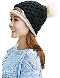 Grab Offers Women's Woollen Knitted with Fur Winter Beanie Hat (Random Colour, Free Size)