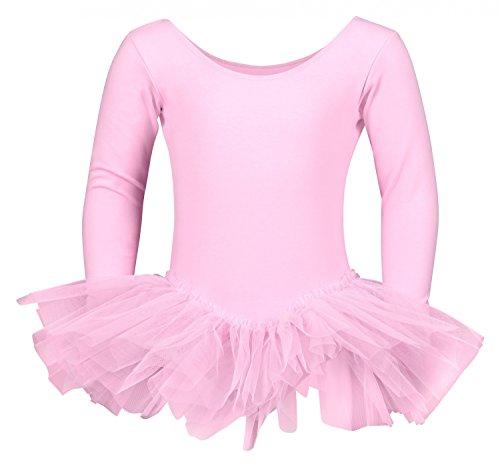 """tanzmuster Kinder Ballett Trikot """"Alea"""" mit Tutu aus 3-lagigem Tüll. Wunderschönes Ballettkleid mit langen Ärmeln für die kalten Tage in rosa, Größe:128/134"""