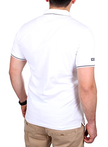 Reslad Polo-Shirt Herren Slim Fit Polo-Hemd Aus Baumwolle Kurzarm RS-5203 Weiß