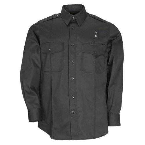 Pdu-streifen (Tactical Herren Twill PDU Klasse A Long Sleeve Shirt Teflon Treatment Achselbelüftung Style 72344, Herren, schwarz, 6X-Large Talll)