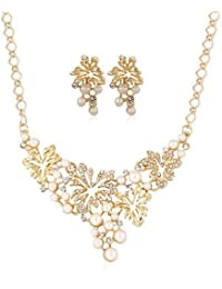 DeAaaStyle Antique Tribal Gold Plated Pearl Necklace Set With Earrings For Women And Girls