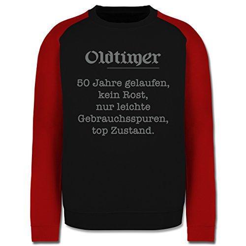 Geburtstag - 50 Jahre Oldtimer Fun Geschenk - Herren Baseball Pullover Schwarz/Rot