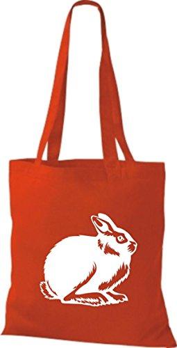 Shirtstown Stoffbeutel Tiere Hase, Rammler, Häschen Rot