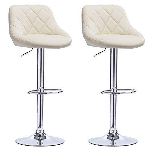 Woltu bh23cm-2 coppia sgabelli da bar estetica moderno sedia cucina alta con schienale quadrato poggiapiedi senza braccioli similpelle cromato altezza regolabile girevole 2 pezzi beige